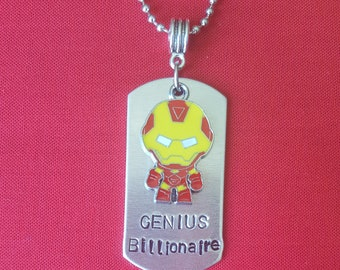 GENIUS BILLIONAIRE hand stamped 2 inch dog tag with Ironman charm and 24 inch ball chain PERSONALIZE