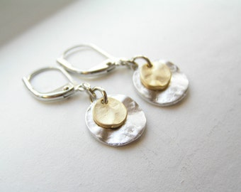 Little Silver and Gold Disc Earrings