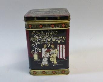 Collectible tin Geisha tin Hinged top tin Oriental design tin Vintage tin 1970s tin