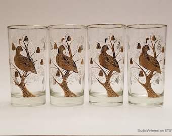 1960s Barware Golden PARTRIDGE in a PEAR TREE - Vintage Highball Glasses - Beautiful Gold Details - Bar Ware - Home Decor - Dining & Serving