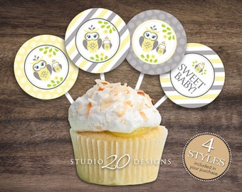 """Instant Download Yellow Owl Cupcake Toppers, 2"""" Grey Yellow Owl Baby Shower Cupcake Toppers, Gender Neutral Owl Pops 23G"""