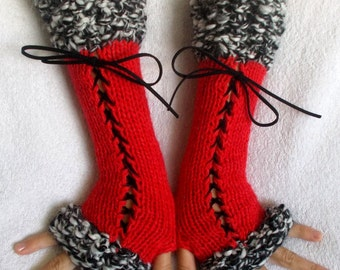 Fingerless Gloves Corset Wrist Warmers  in Red Black White  Handknitted Victorian Style