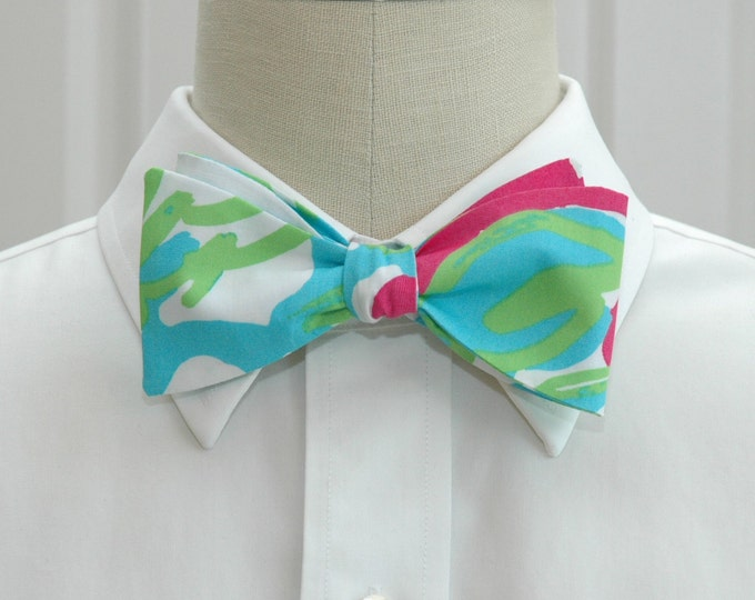 Men's Bow Tie, pop pink Delicacy turquoise Lilly print, wedding bow tie, groom bow tie, groomsmen gift, blue green bow tie, prom bow tie,