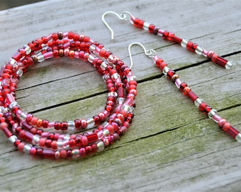 CRANBERRY SEEDBEAD WRAP Bracelet Earrings Set Various Shades of Red Seedbeads Long Stiletto Earrings