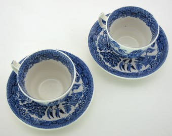 2 cups and saucers vintage Blue Willow Wood & Sons