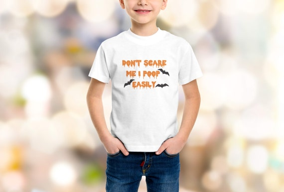 """Halloween """"Don't Scare Me I Poop Easily"""" Youth T-Shirt XS-XL Available"""