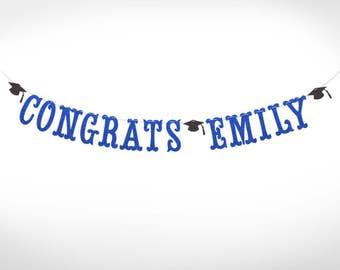 Personalized Glitter Congrats Banner // College Graduation // High School Graduation // Class of 2017