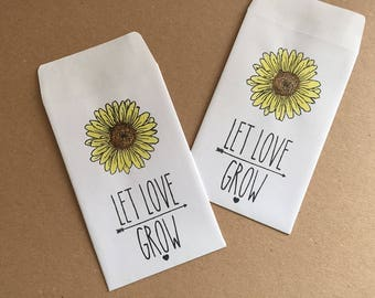 Handmade Let Love Grow White Wedding Favour Seed Packets with Watercoloured Sunflowers Qtys 10 - 100