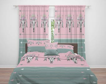 Floral Bull Skull  Comforter or  Duvet Cover, Twin  Full Queen King, Arrows, Pink ,Sage, Window Curtains