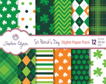 St. Patrick's Day Digital Paper Pack, 12x12 Instant Download for Cards, Invitations, Scrapbooking