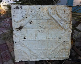 Antique Rusty Ceiling Tin 24 × 24 inches