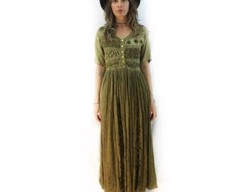 Vintage 90s embroidered maxi dress by MPH // size medium