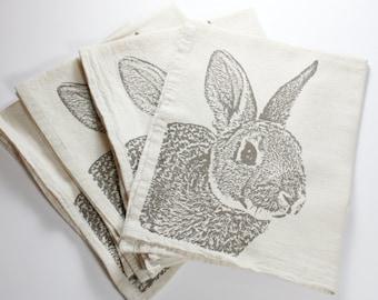 Bunny Napkins in Deep Khaki, Rabbit Napkins - Hand Printed Flour Sack Napkins (unbleached cotton)
