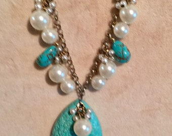 White and turquoise repurposed necklace
