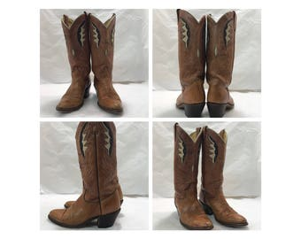 Vintage 70's acme chestnut brown cowgirl western boots