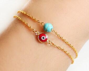 Turkish evil eye bracelet, red turquoise, turquoise bracelet, istanbul, turkey, arabic, fashion, red evil eye, ethnic bracelet