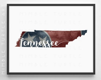 Tennessee State Outline Watercolor with Tennessee State Flag Background -  Printable Tennessee Wall Art  -  With Blank State Outline SVG