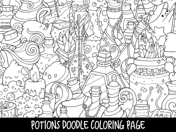 Potions Doodle Coloring Page Printable Cute/Kawaii Coloring