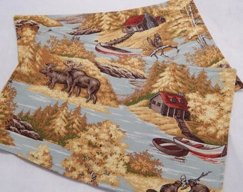 Mini Placemats, Snack Mats, Wilderness Placemats Set of Two , Moose,River,Cabin