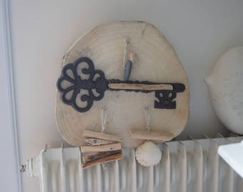 Driftwood key and cast iron key holder