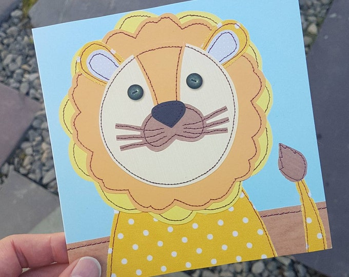Lion Birthday Card • Blank Inside  • Printed from Original Stitched Artwork • 6 inch square with brown kraft envelope • 300gsm