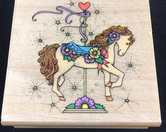 Floral Carousel Filly Used Rubber stamp Hero Arts
