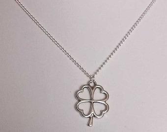 Lucky Four Leaf Clover Necklace , Irish Shamrock Necklace, Ireland , Good Luck , Silver Necklace , Handmade Jewelry , Gift