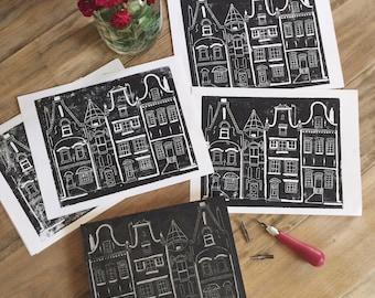 Amsterdam - original 9x11 linocut print