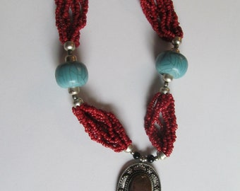 Red coral, turquoise, silver, and jasper vintage necklace