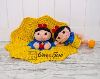 Combo Pack - Snow White Lovey and Amigurumi Set for 7.99 Dollars - PDF Crochet Pattern - Instant Download - Special Offer Pack