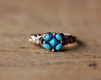 Antique 10K turquoise glass cluster ring ∙ 1900s turquoise glass ring