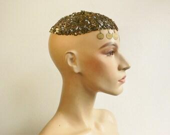 Vintage Skull Caplet authentic Vintage caplet gold sequins jingling Belly Dancing 1920's - 1970's