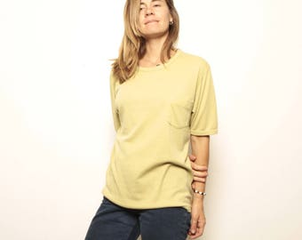 vintage FADED t-shirt crew neck front POCKET slouchy basic normcore shirt