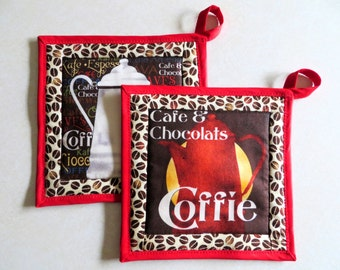 Set of 2 Pot Holders  - Quilted Insulated Hot Pads - Quilted Trivets - Hostess Gift - Handmade Potholders - Housewarming Gift