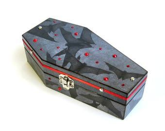 Halloween Coffin Box Black Bats Halloween Decor Decoration Goth Gothic Jewelry Box Decorated Coffin Trinket Box