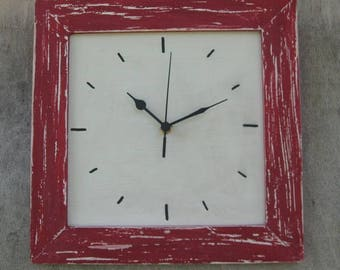 Shabby Chic Wall Clock red & Cream wall Decor
