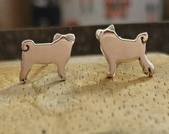 Cute Silver Handmade Pug Dog Earrings