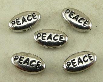5 TierraCast PEACE Word Beads * World Peace Christmas No War - Rhodium Silver Plated Lead Free Pewter - I ship internatioanally - 5643