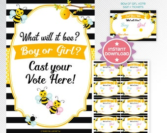 Bumble bees Gender Reveal Voting Cards, baby shower printable game INSTANT DOWNLOAD