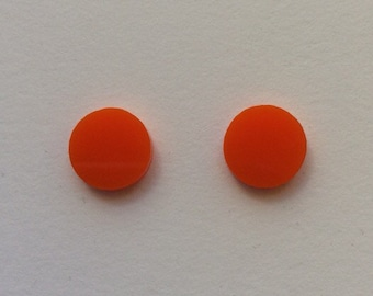 Large orange Acrylic / perspex laser cut earrings round circle studs