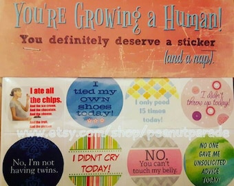 Fun 'You're Growing a Human!' Adulting Reward Stickers New Mom Shower Gift Expectant Mom Peanut Parade