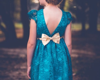 Teal Turquoise Flower Girl Dress with Gold Waistband, Lace Flower Girl Dress, Fall Rustic Wedding, Holiday Wedding, Toddler Flower Girl