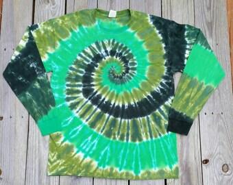 Adult Plus Size St Patrick's Day Tie Dye Shirt, XXL 3XL 4XL 5XL, Green Tie Dye Long Sleeve Tshirt,  Mens Tie Dye, Womens Tie Dye, St Pattys