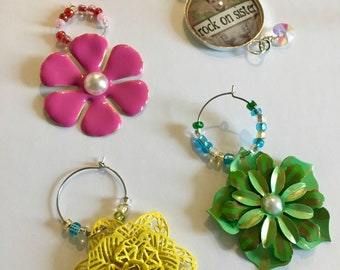 Girly Flower Wine Charms