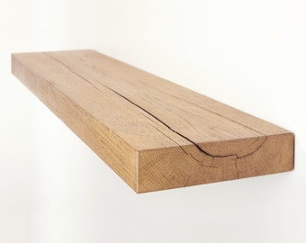 Floating Shelf made from Chunky Solid Oak with a Choice of Different Rustic Wax Finishes and Sizes 8x2