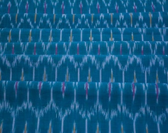 Blue Fine Ikat Handloom Fabric