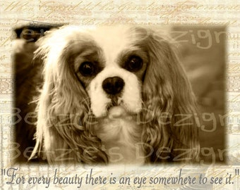 Cavalier King Charles Spaniel/Collage/Photo/Vintage/Print/Blenheim/Card