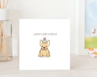 Dog Birthday Card -  French Bulldog with Birthday Cupcake on head, Frenchie birthday card, French Bulldog Birthday card, Frenchie Card