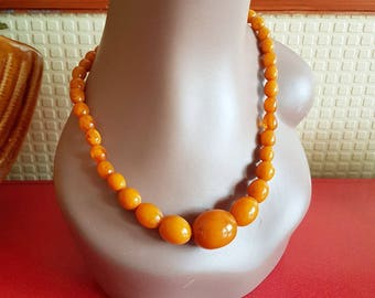 Fay fakelite beaded necklace- Butterscotch