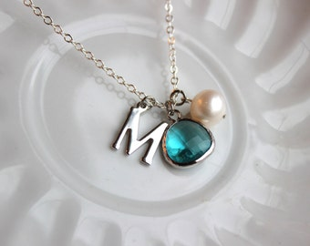 Any Letter & Color Pendant - Sea Green Blue Pearl Initial Necklace Letter Silver Jewelry Charm Personalized Necklace Pearl Monogram
